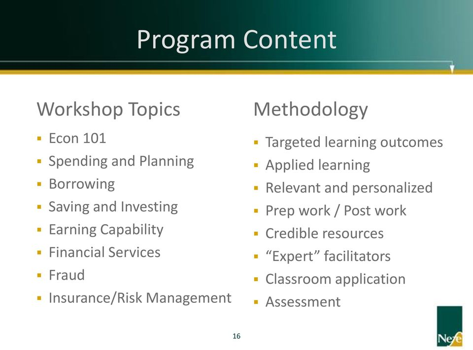 Methodology Targeted learning outcomes Applied learning Relevant and personalized