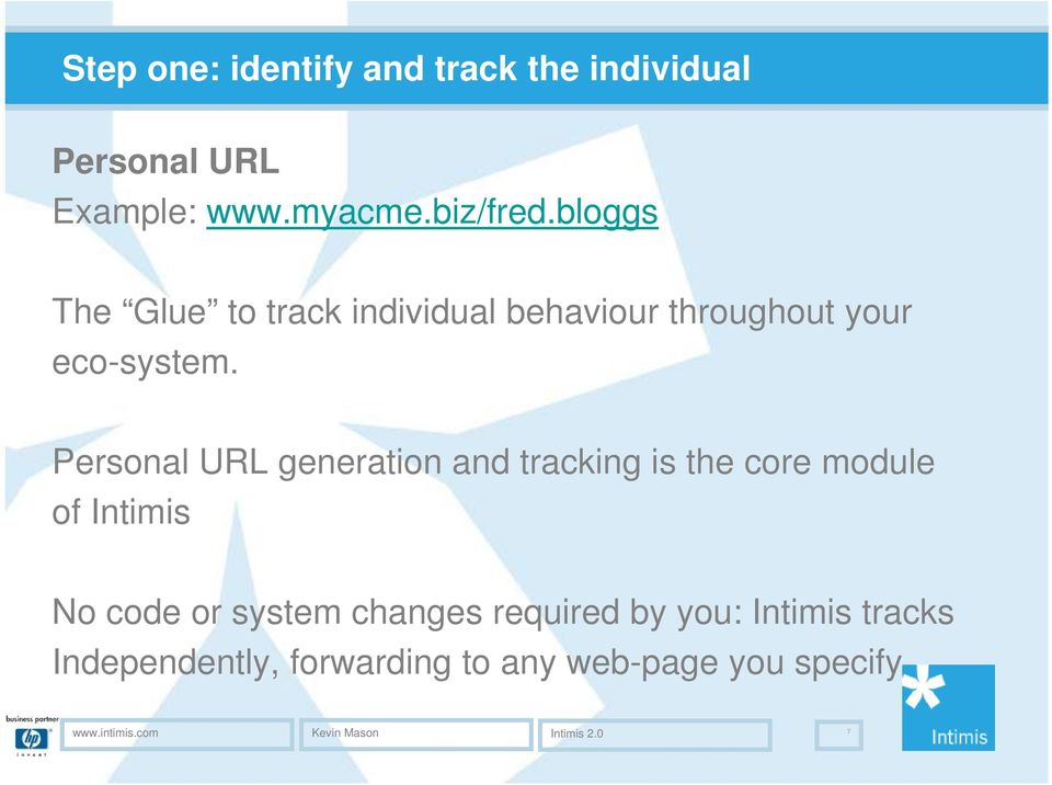 Personal URL generation and tracking is the core module of Intimis No code or system changes