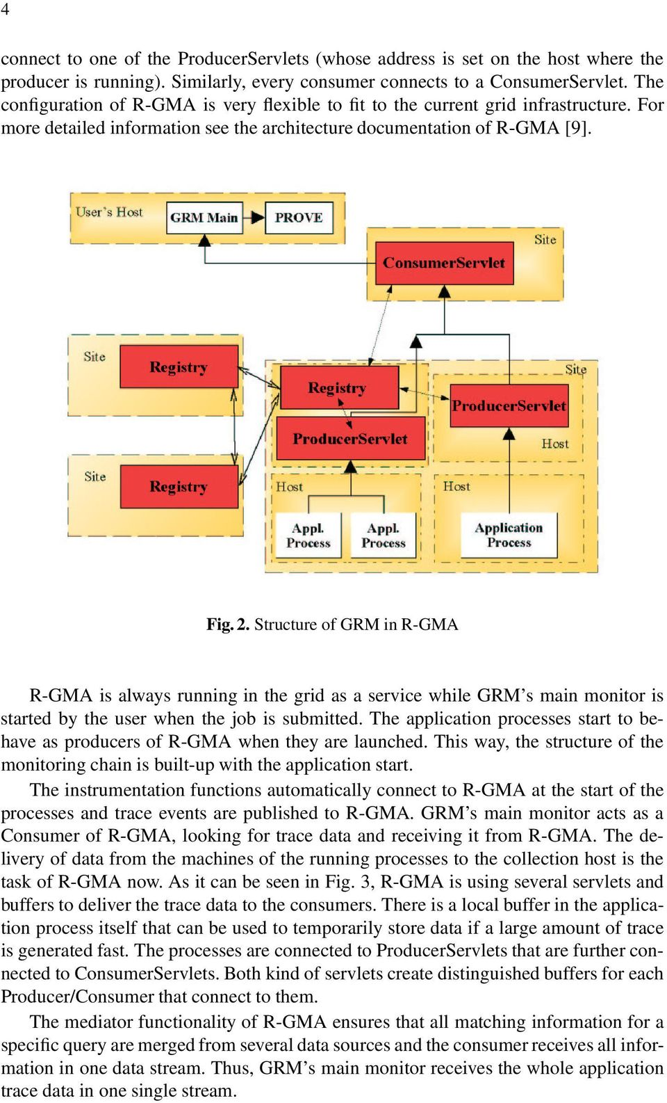 Structure of GRM in R-GMA R-GMA is always running in the grid as a service while GRM s main monitor is started by the user when the job is submitted.