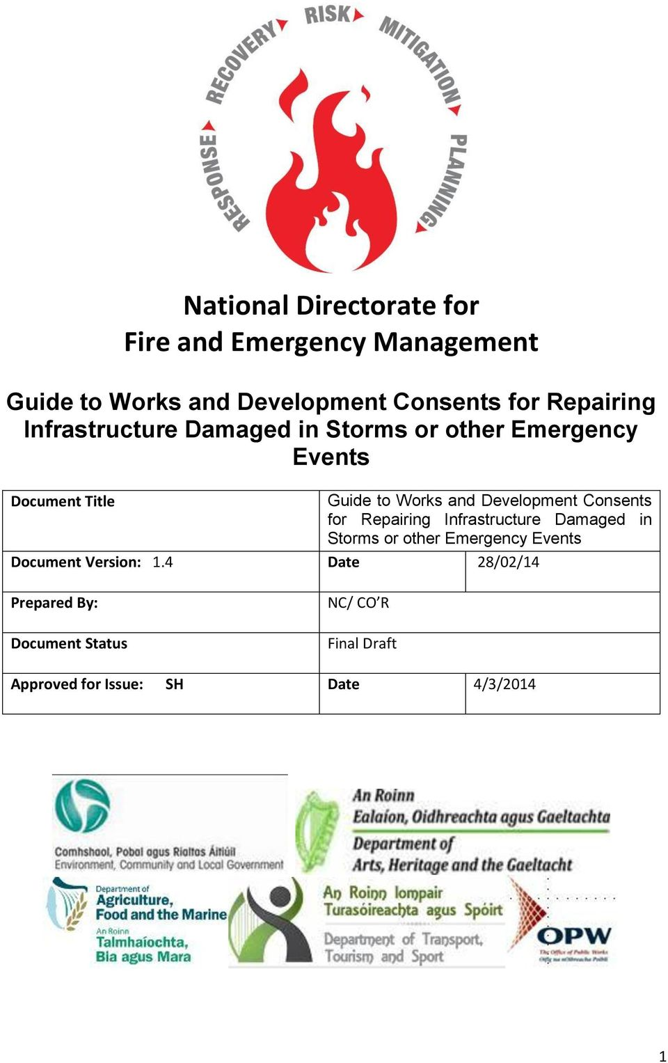 Development Consents for Repairing Infrastructure Damaged in Storms or other Emergency Events Document