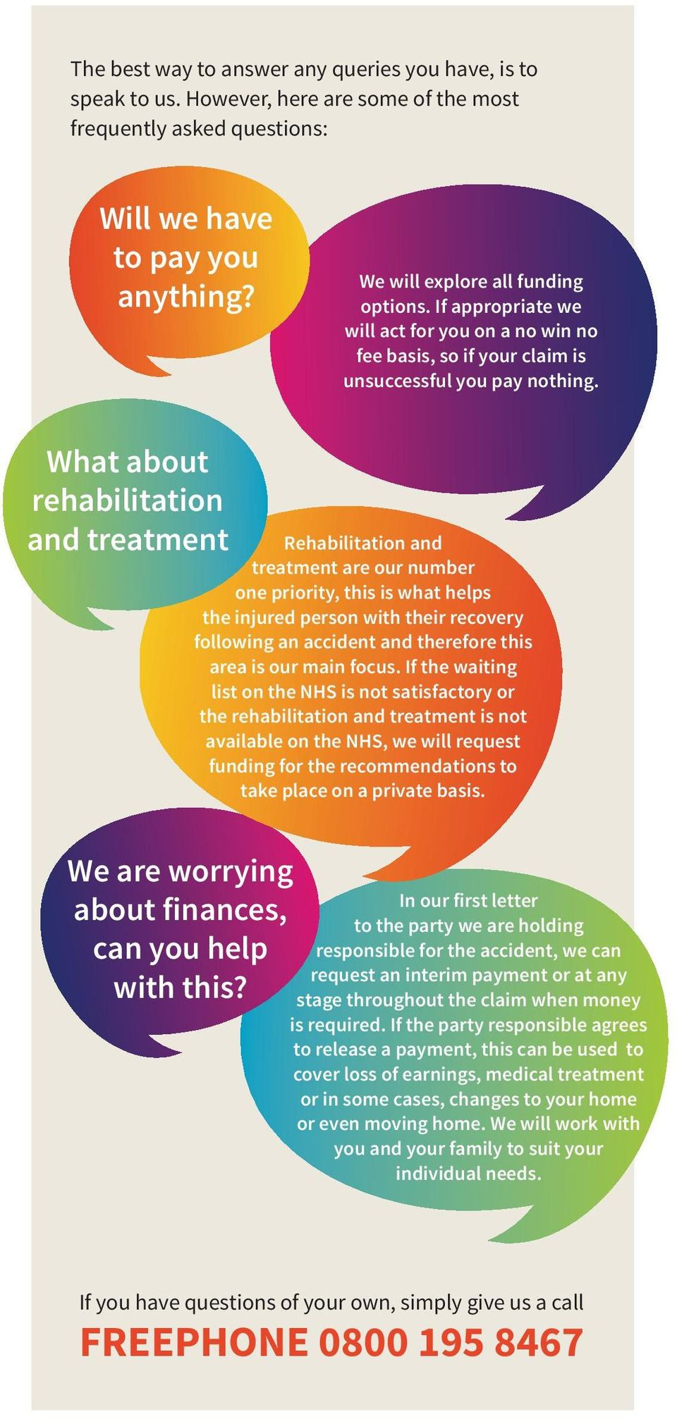 What about rehabilitation and treatment We are worrying about finances, can you help with this?
