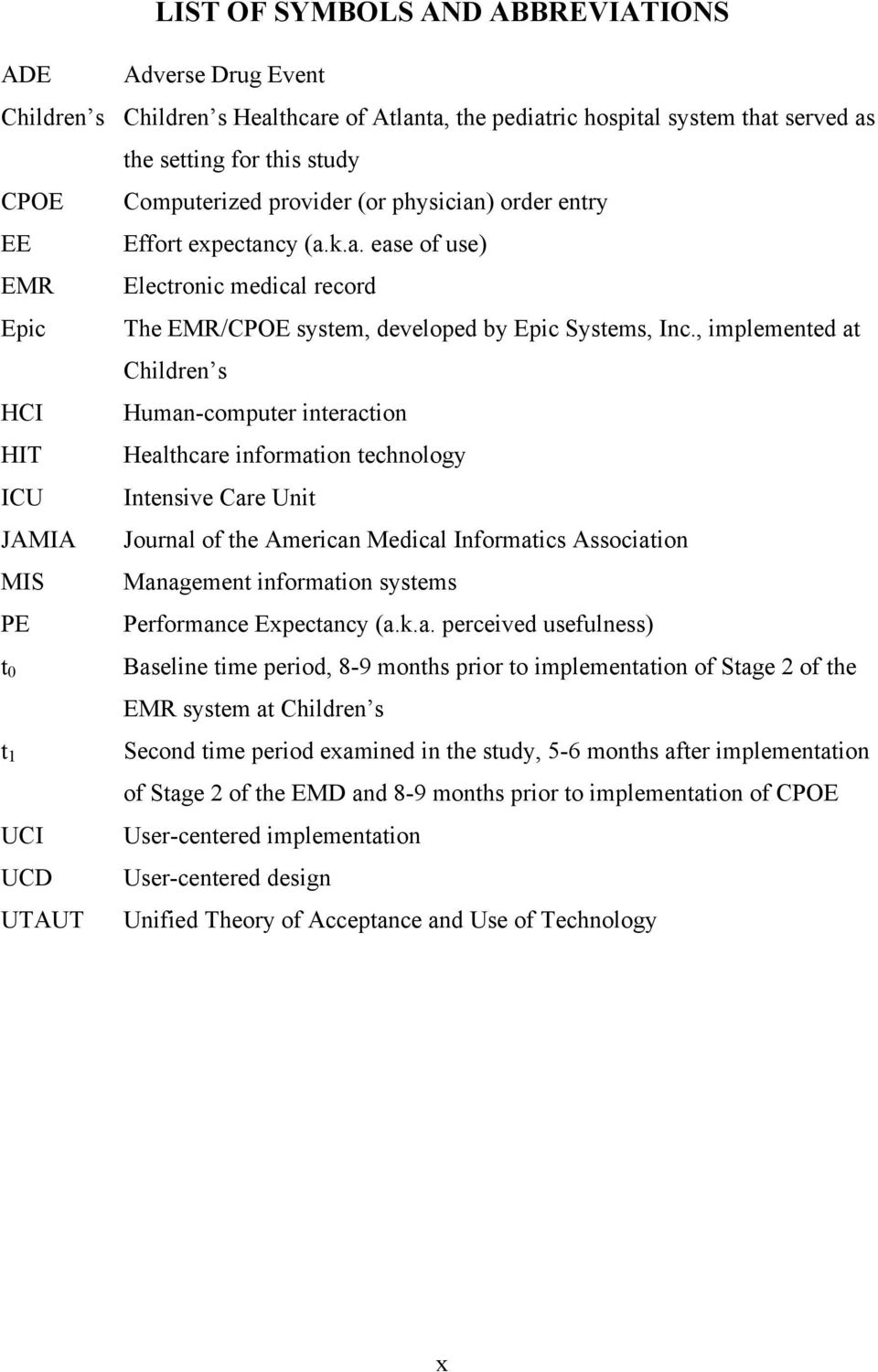 , implemented at Children s HCI Human-computer interaction HIT Healthcare information technology ICU Intensive Care Unit JAMIA Journal of the American Medical Informatics Association MIS Management