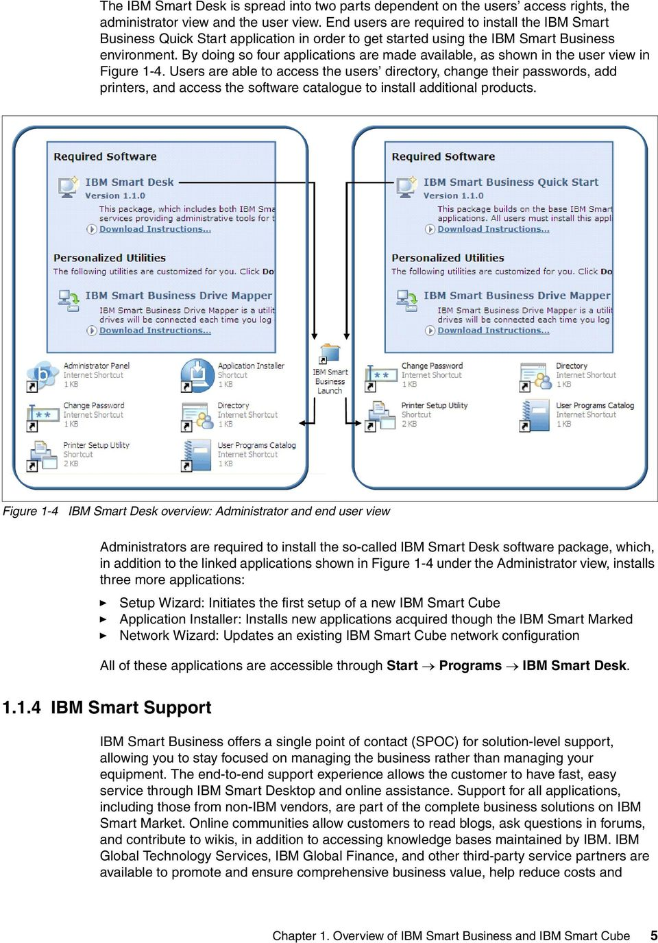 By doing so four applications are made available, as shown in the user view in Figure 1-4.