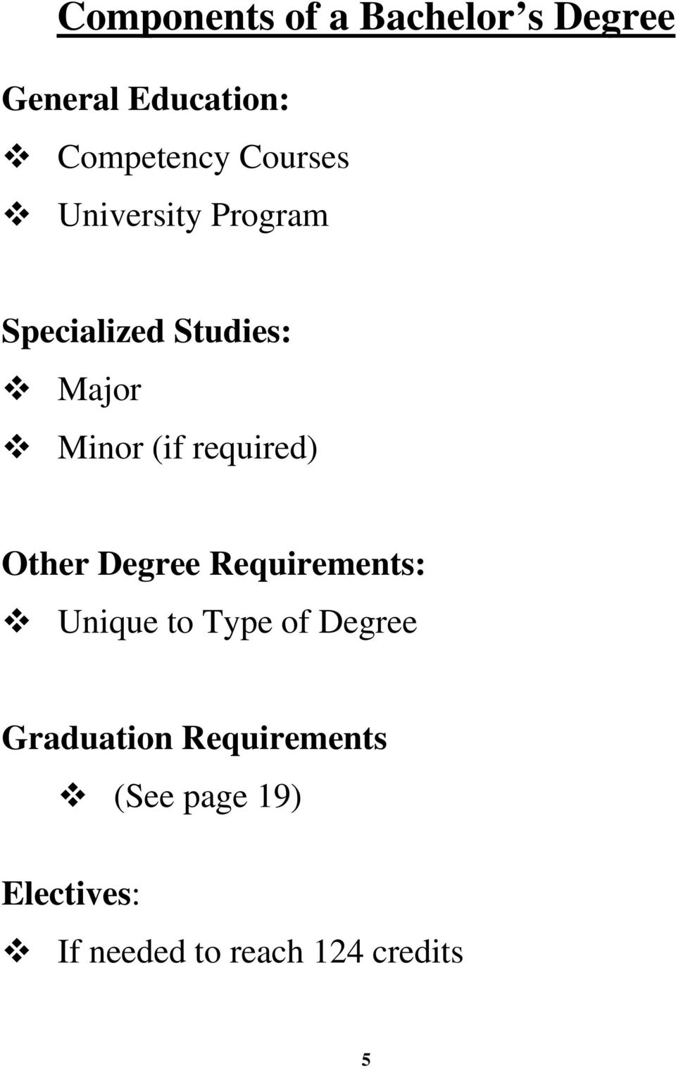 required) Other Degree Requirements: Unique to Type of Degree