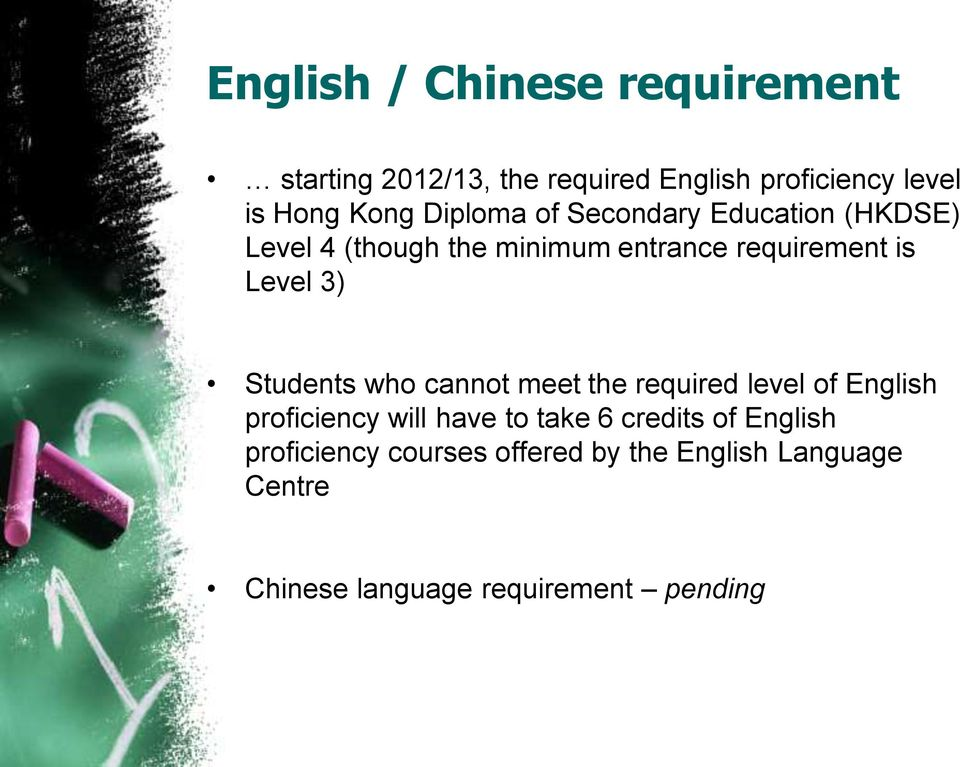 Students who cannot meet the required level of English proficiency will have to take 6 credits of