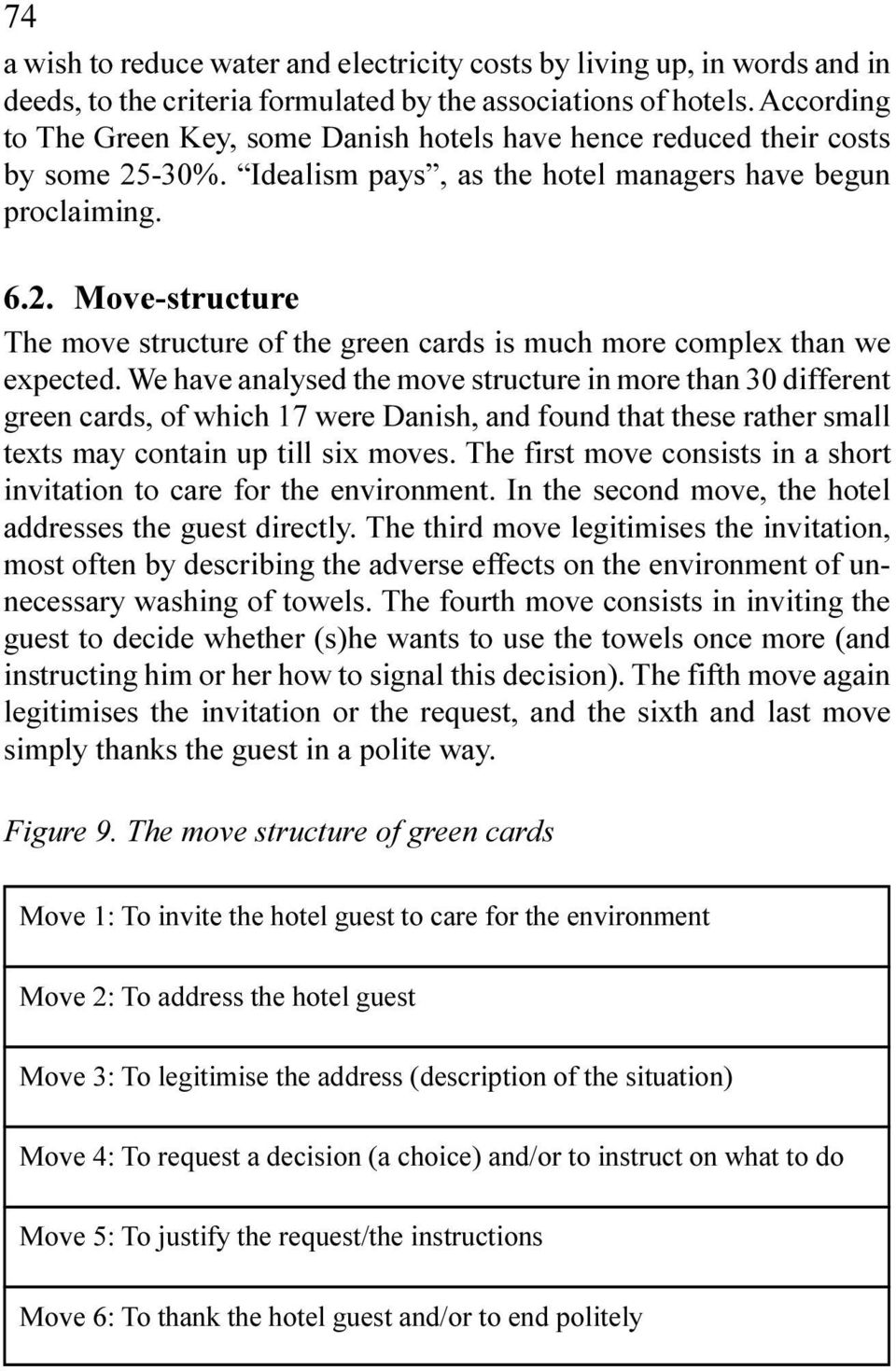 analysed the move structure in more than 30 different green cards, of which 17 were Danish, and found that these rather small texts may contain up till six moves The first move consists in a short