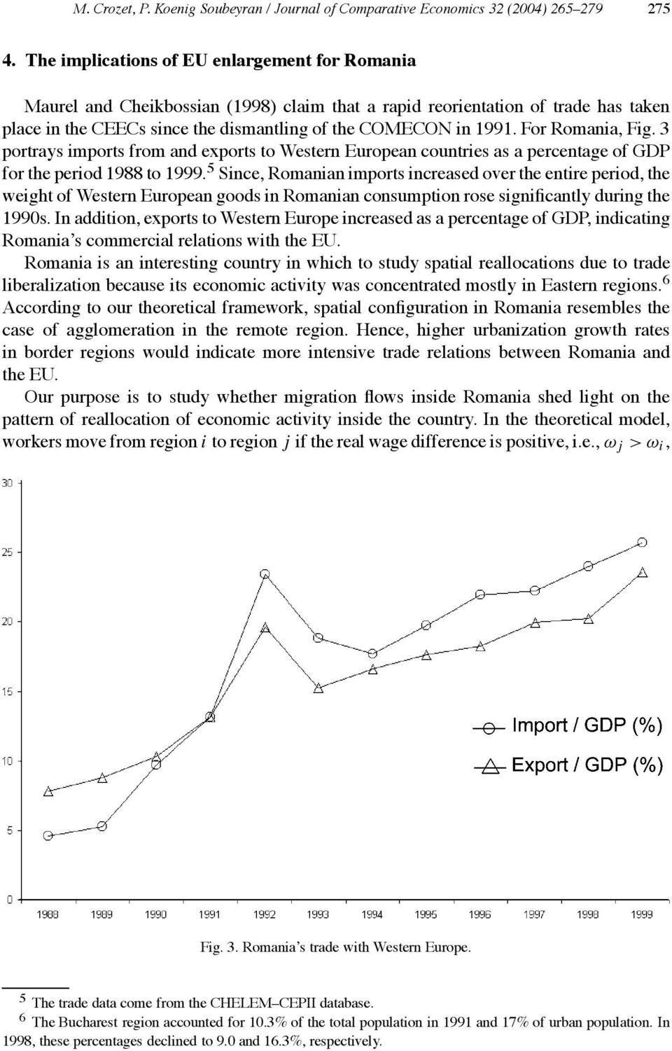 For Romania, Fig. 3 portrays imports from and exports to Western European countries as a percentage of GDP for the period 1988 to 1999.