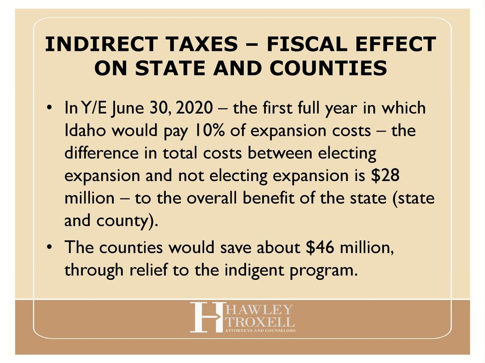 expansion and not electing expansion is $28 million to the overall benefit of the state