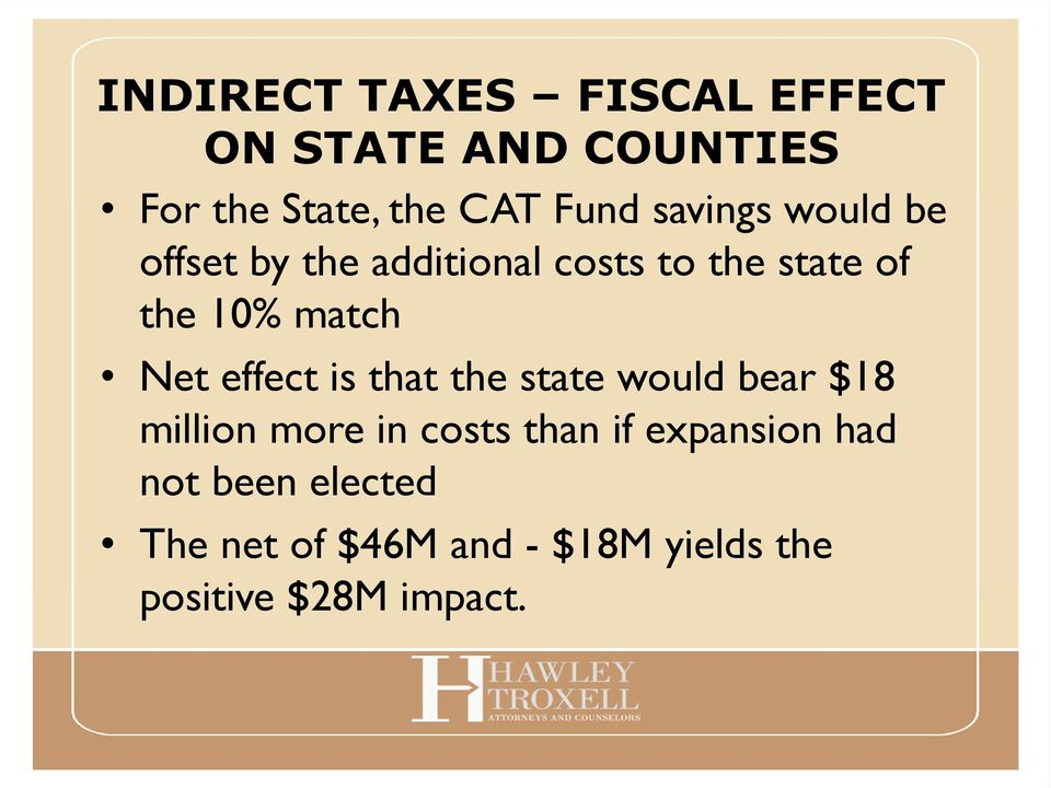 Net effect is that the state would bear $18 million more in costs than if
