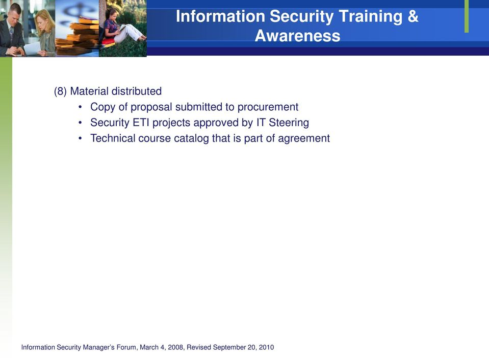 Security ETI projects approved by IT