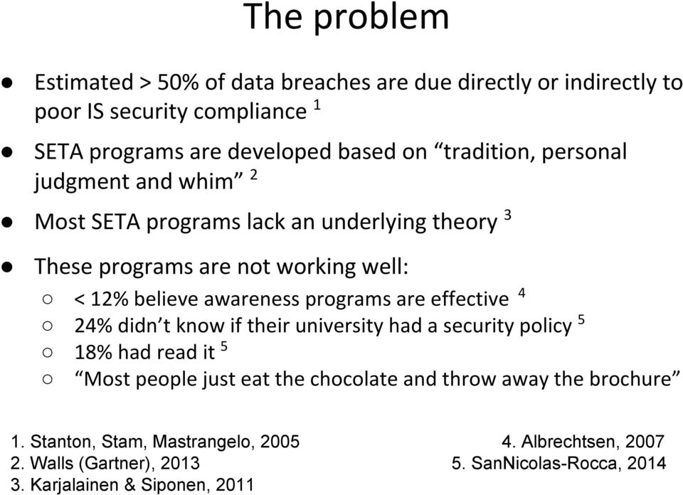 programs are effective 4 24% didn t know if their university had a security policy 5 18% had read it 5 Most people just eat the chocolate and throw