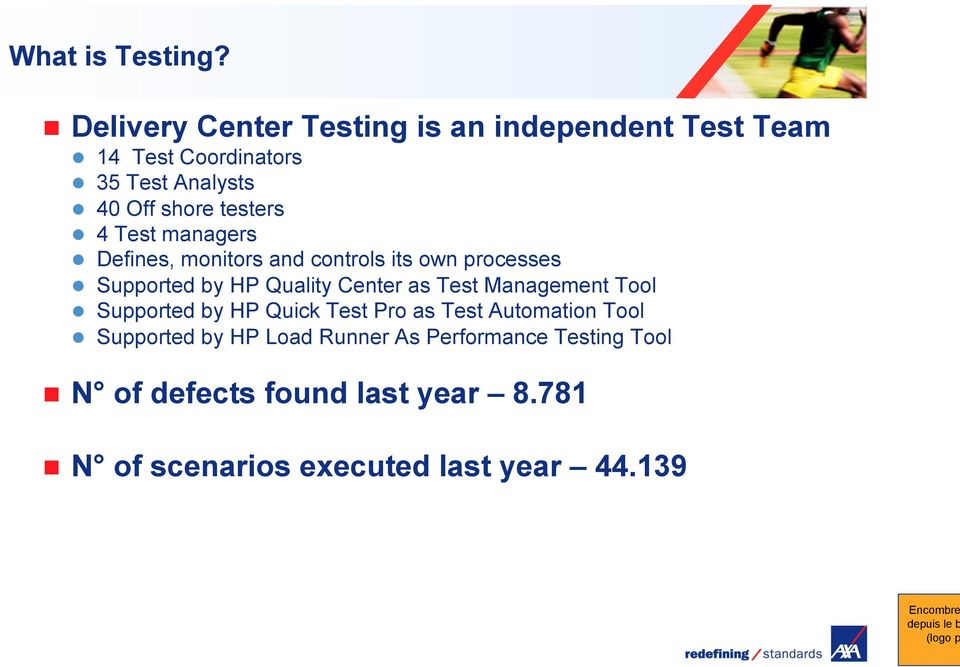 testers 4 Test managers Defines, monitors and controls its own processes Supported by HP Quality Center as