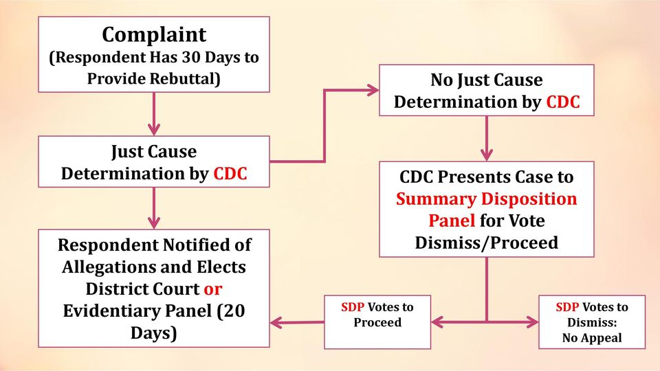 Panel (20 Days) SDP Votes to Proceed No Just Cause Determination by CDC CDC Presents