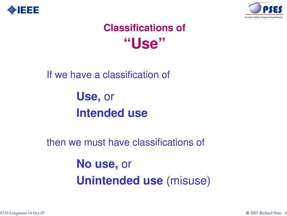 then we must have classifications of No
