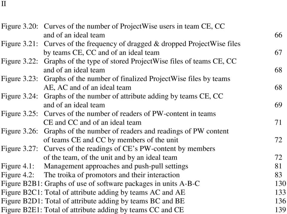 22: Graphs of the type of stored ProjectWise files of teams CE, CC and of an ideal team 68 Figure 3.