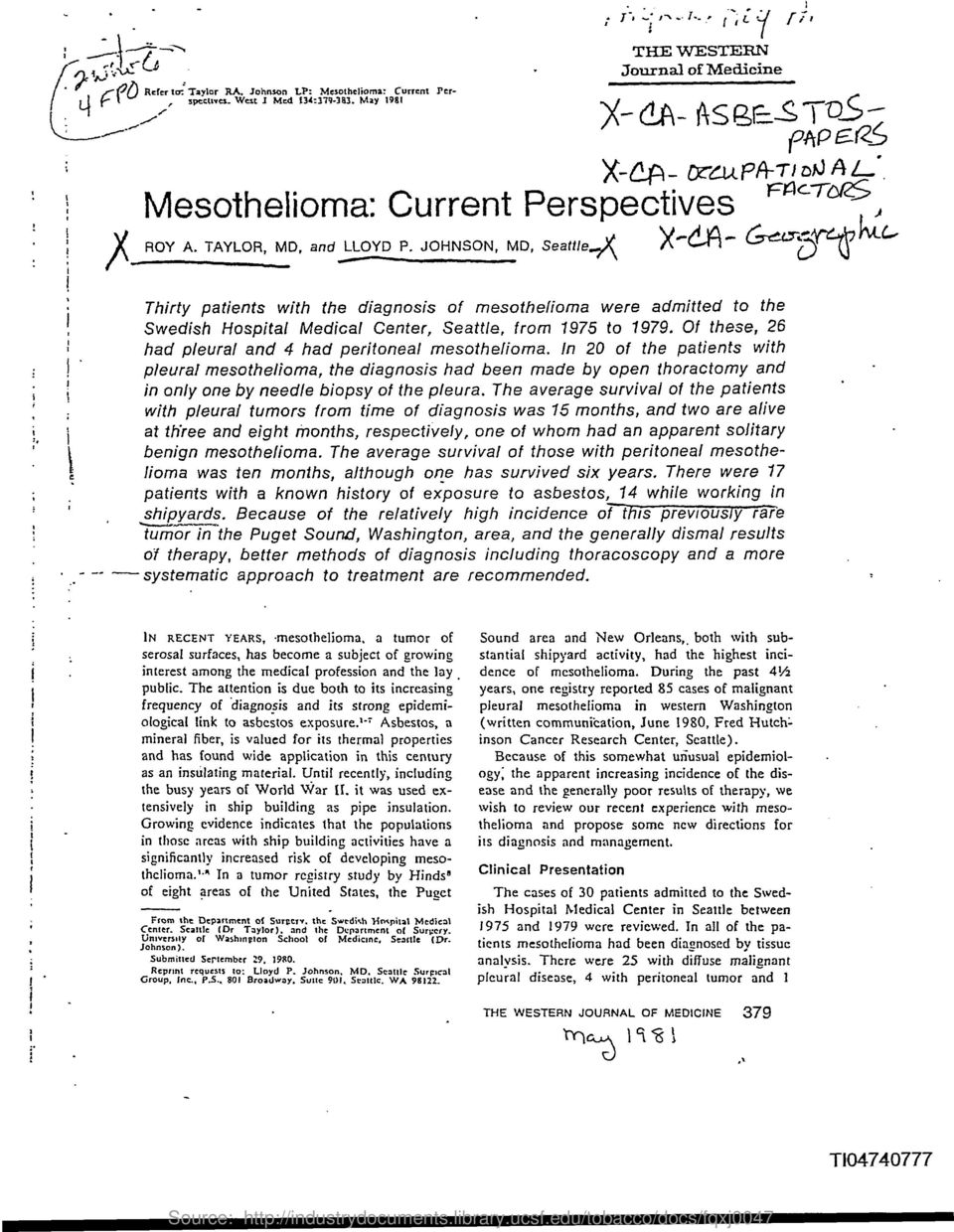 TAYLOR, MD, and Thirty patients with the diagnosis of mesothelioma were admitted to the Swedish Hospital Medical Center, Seattle, from 1975 to 1979.