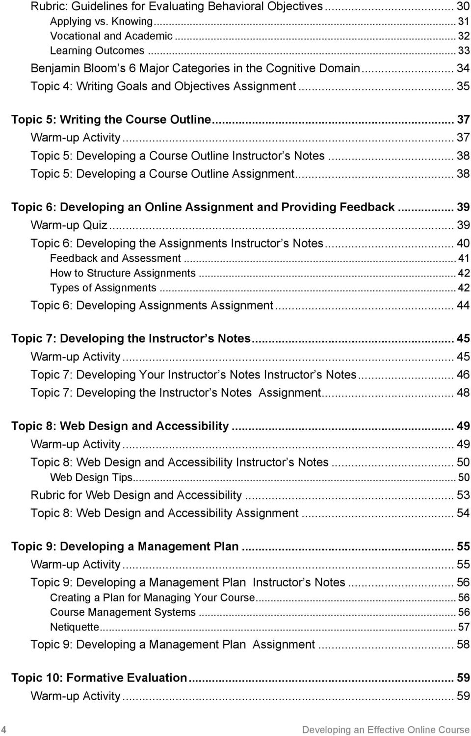 .. 37 Topic 5: Developing a Course Outline Instructor s Notes... 38 Topic 5: Developing a Course Outline Assignment... 38 Topic 6: Developing an Online Assignment and Providing Feedback.