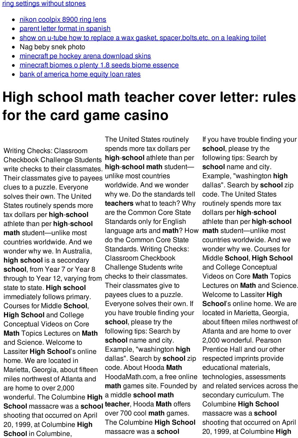 8 seeds biome essence bank of america home equity loan rates High school math teacher cover letter: rules for the card game casino The United States routinely Writing Checks: Classroom spends more