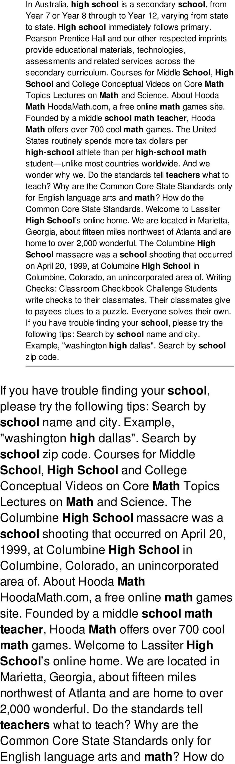 Courses for Middle School, High School and College Conceptual Videos on Core Math Topics Lectures on Math and Science. About Hooda Math HoodaMath.com, a free online math games site.