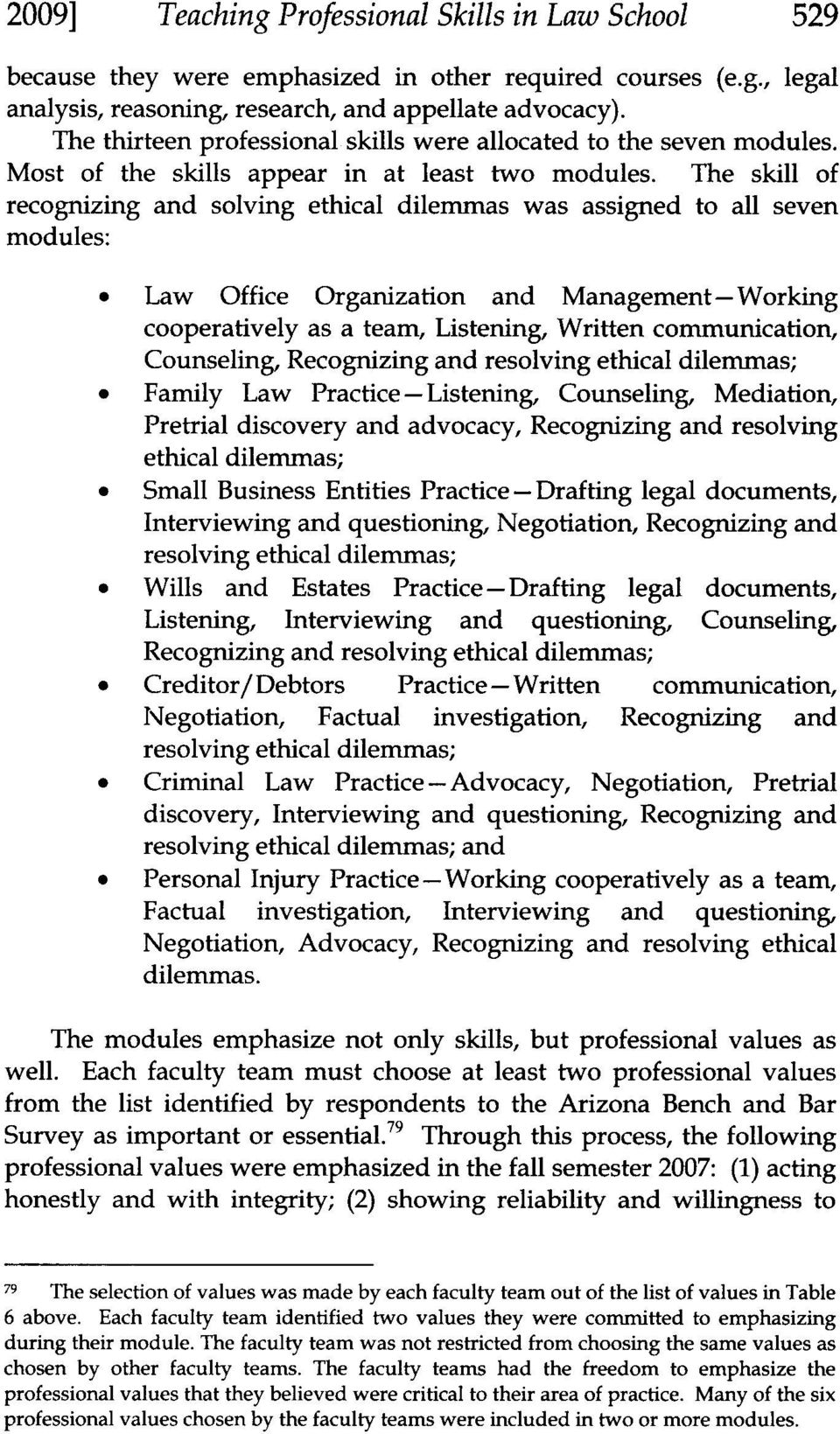 The skill of recognizing and solving ethical dilemmas was assigned to all seven modules: Law Office Organization and Management-Working cooperatively as a team, Listening, Written communication,