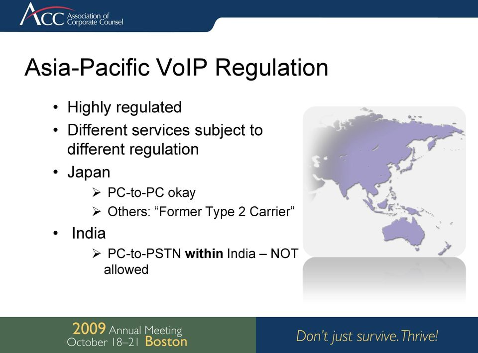 regulation Japan India PC-to-PC okay Others: