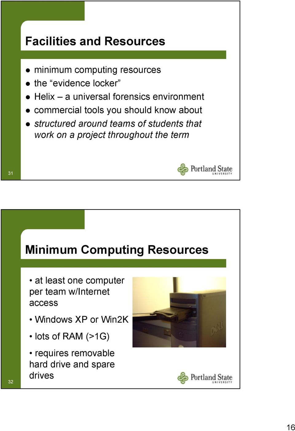 a project throughout the term 31 Minimum Computing Resources at least one computer per team