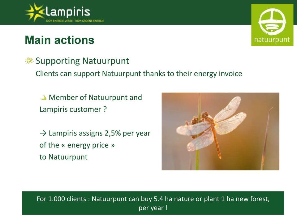 Lampiris assigns 2,5% per year of the «energy price» to Natuurpunt For 1.