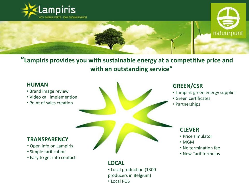 certificates Partnerships TRANSPARENCY Open info on Lampiris Simple tarification Easy to get into contact LOCAL