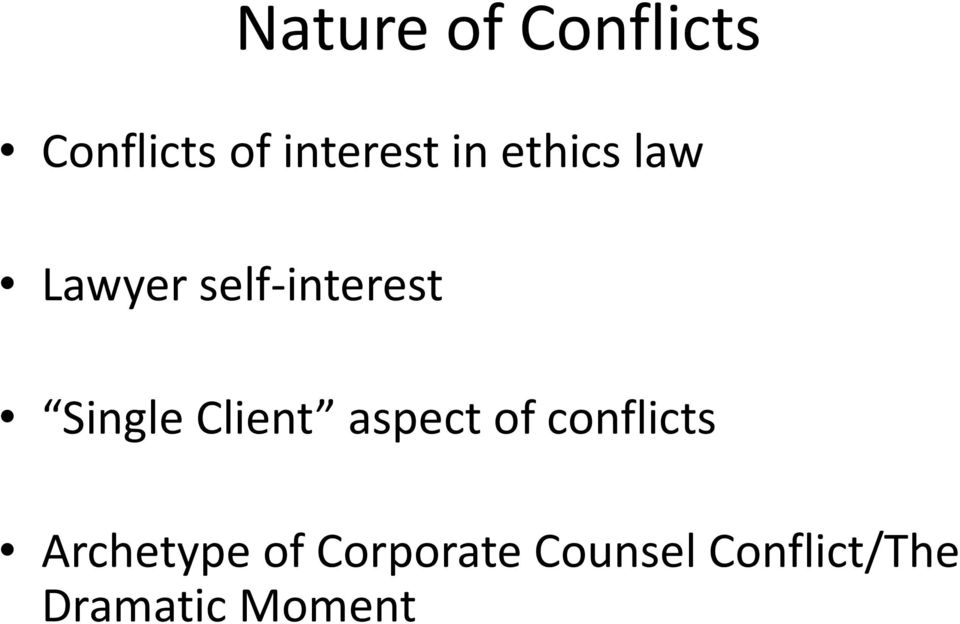 Client aspect of conflicts Archetype of