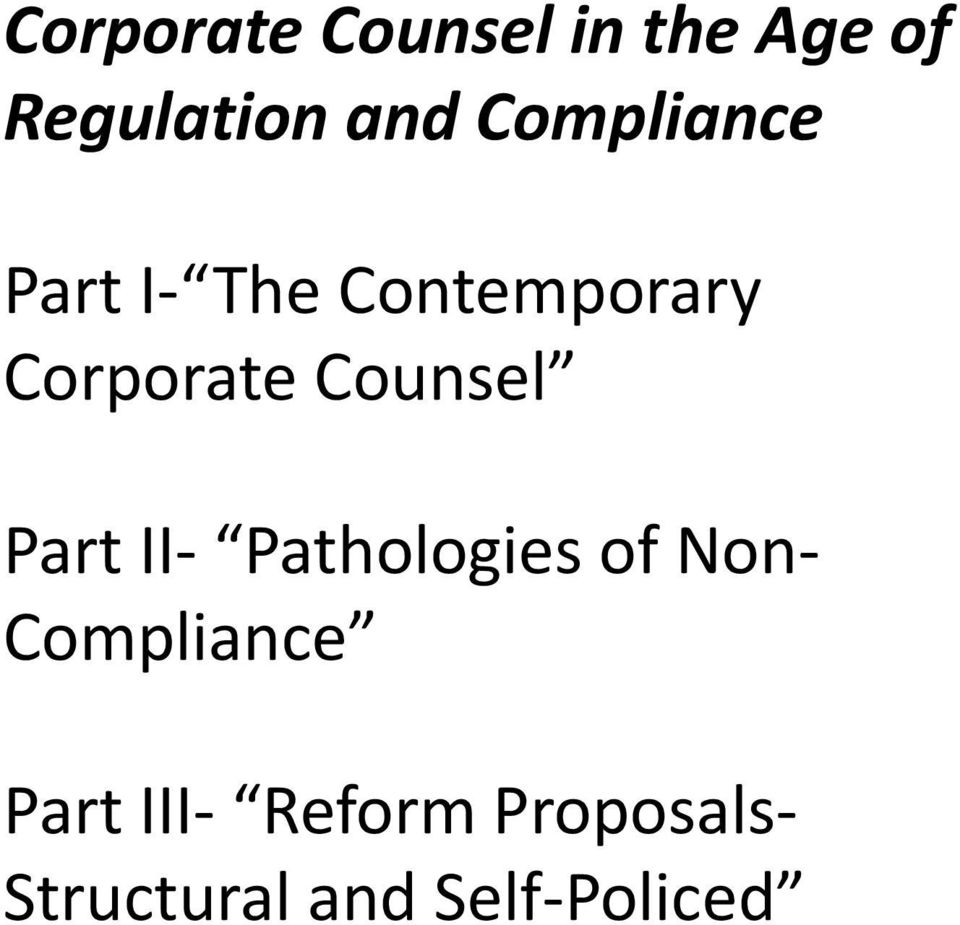 Counsel Part II- Pathologies of Non- Compliance
