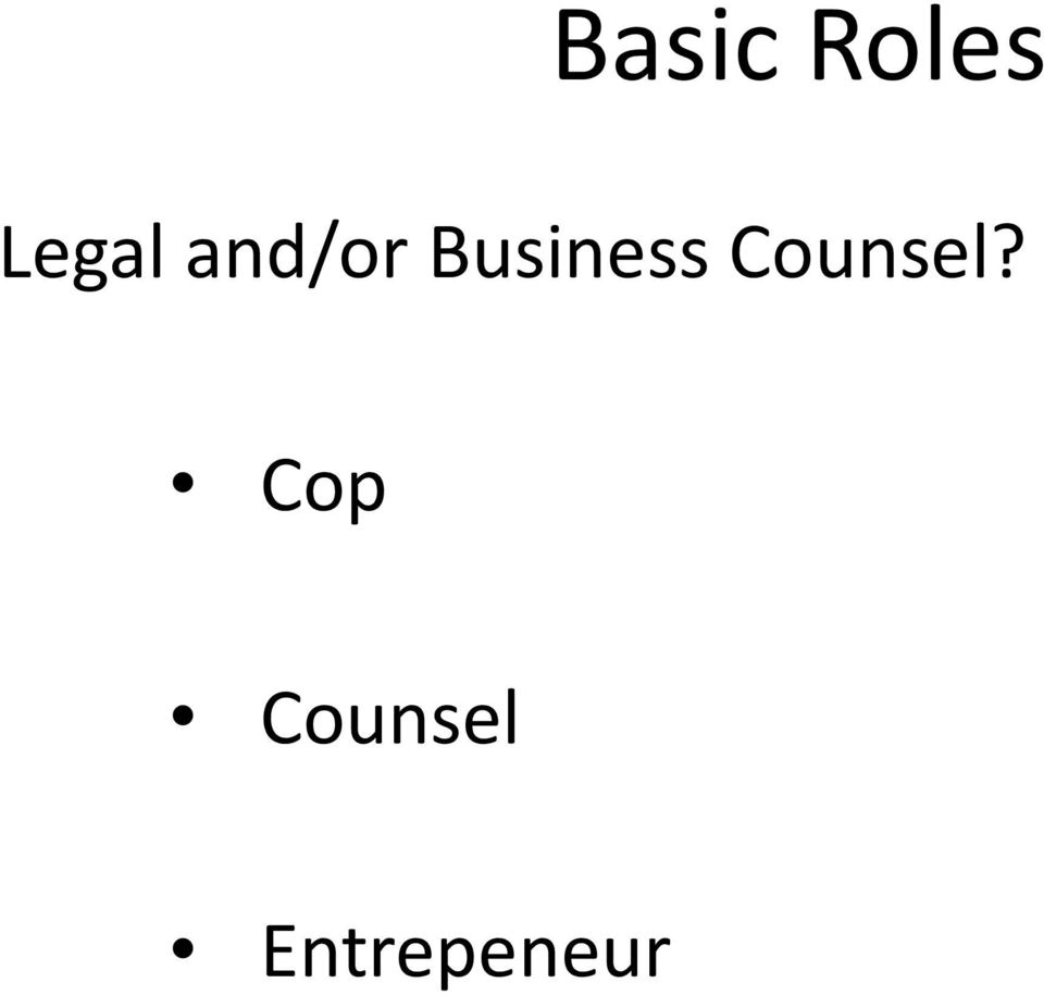 Business Counsel?