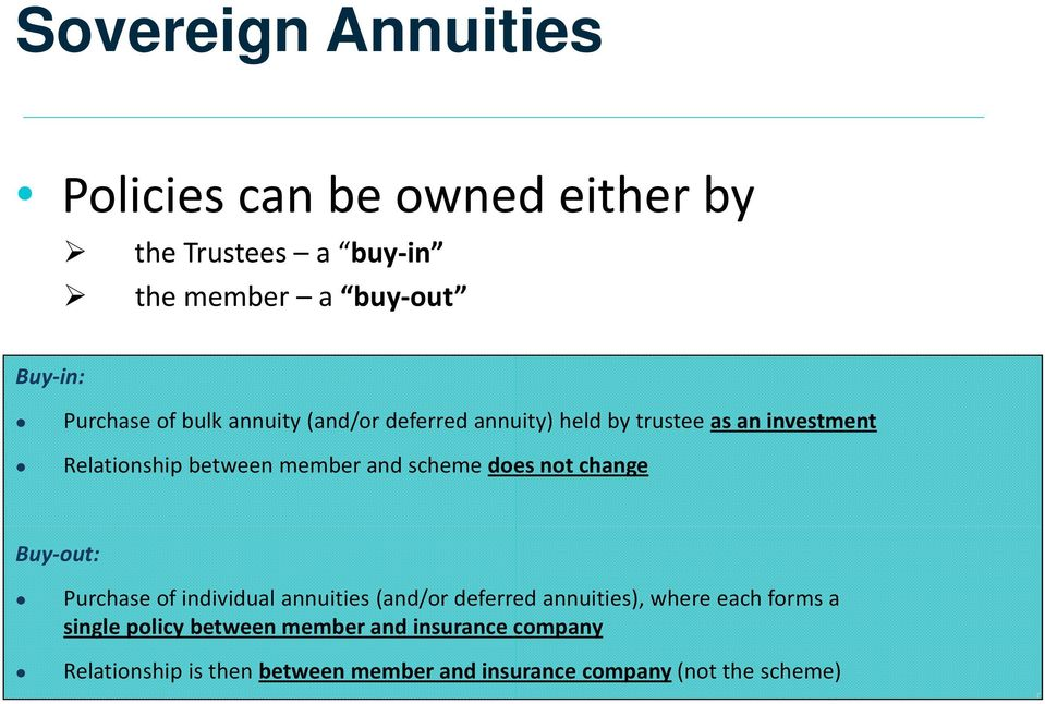 does not change Buy out: Purchase of individual annuities (and/or deferred annuities), where each forms a single