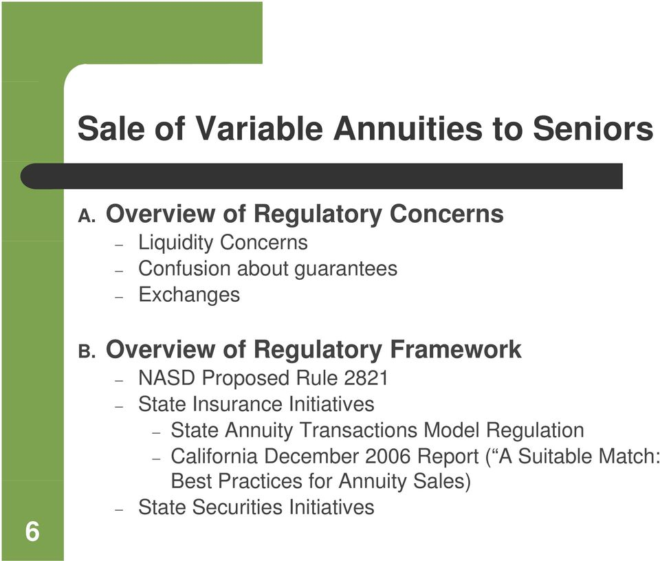 Overview of Regulatory Framework NASD Proposed Rule 2821 State Insurance Initiatives State