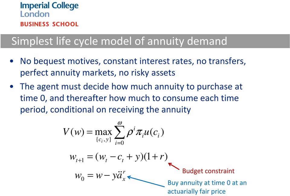 much to consume each time period, conditional on receiving the annuity V ( w) w = max { c i, y} ω i= 0 i ρ π u( c