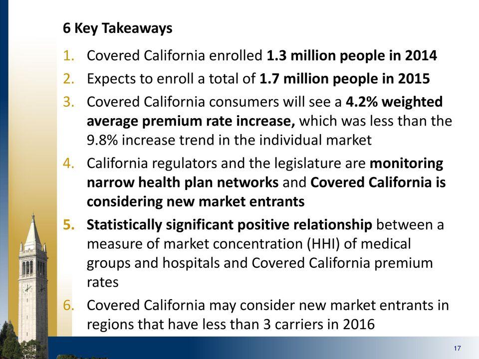 California regulators and the legislature are monitoring narrow health plan networks and Covered California is considering new market entrants 5.