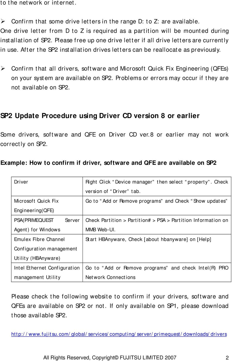 Confirm that all drivers, software and Microsoft Quick Fix Engineering (QFEs) on your system are available on SP2. Problems or errors may occur if they are not available on SP2.