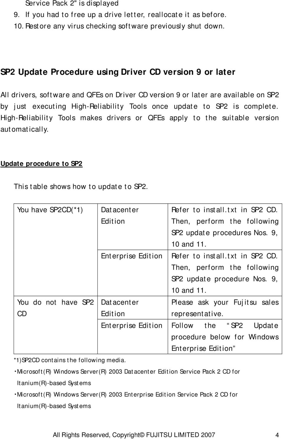 is complete. High-Reliability Tools makes drivers or QFEs apply to the suitable version automatically. Update procedure to SP2 This table shows how to update to SP2.