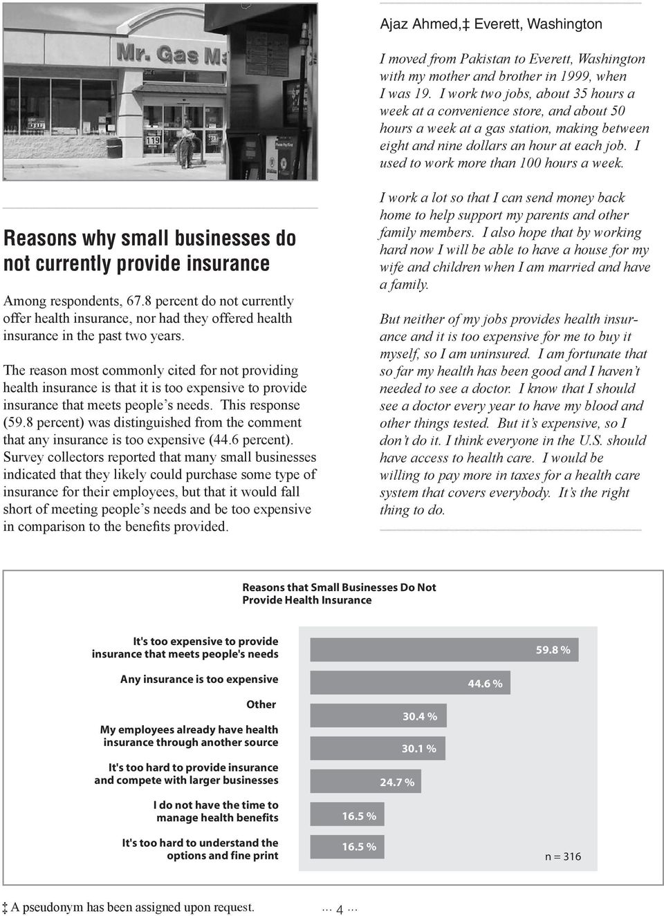I used to work more than 100 hours a week. Reasons why small businesses do not currently provide insurance Among respondents, 67.