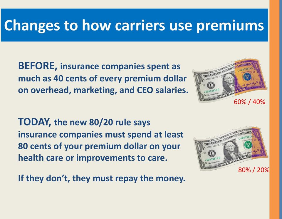TODAY, the new 80/20 rule says insurance companies must spend at least 80 cents of your