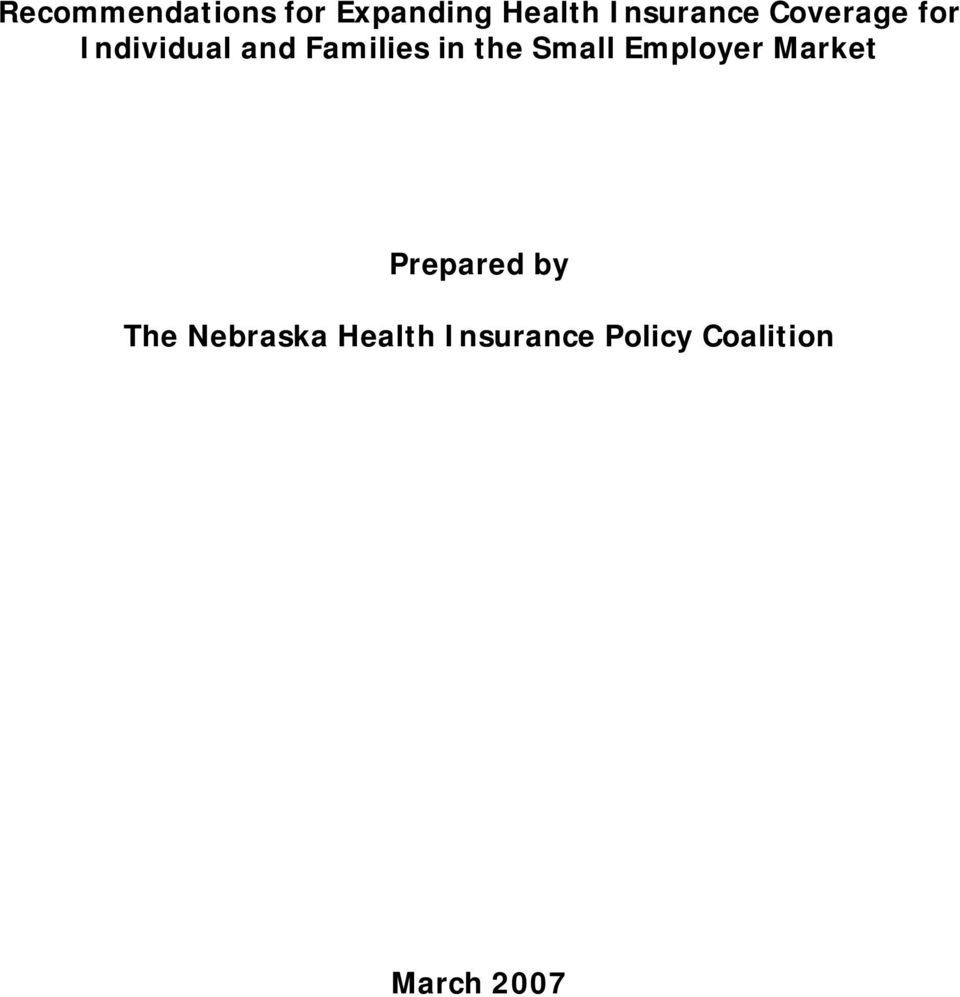 Families in the Small Employer Market