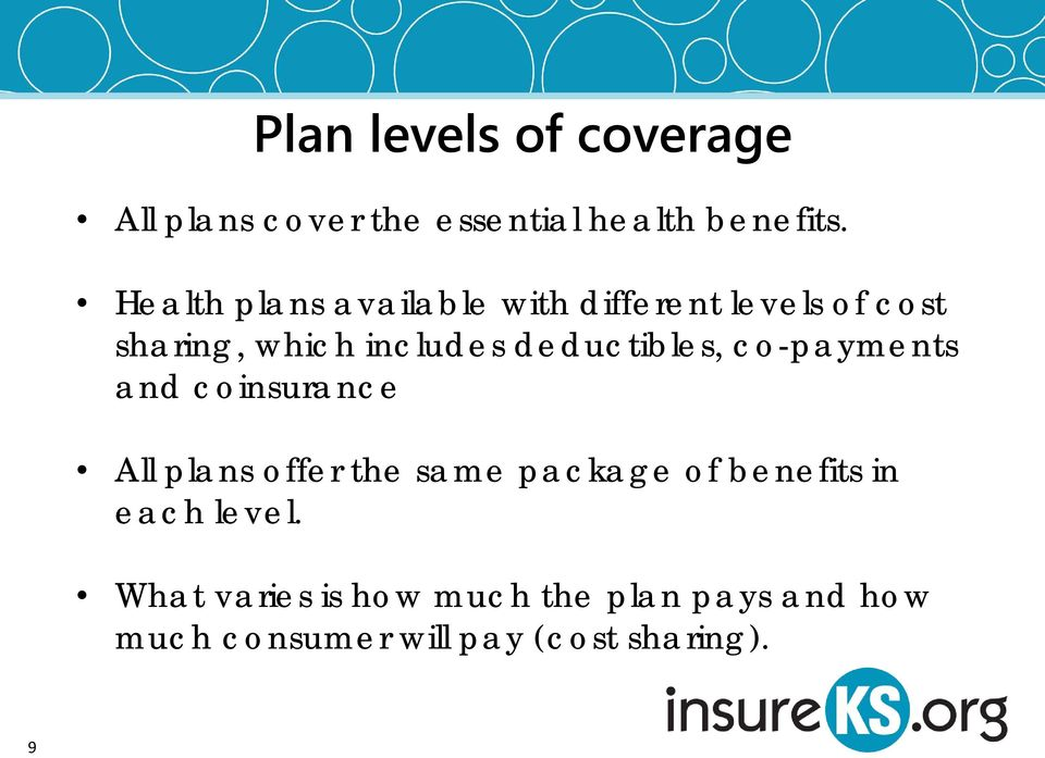 deductibles, co-payments and coinsurance All plans offer the same package of