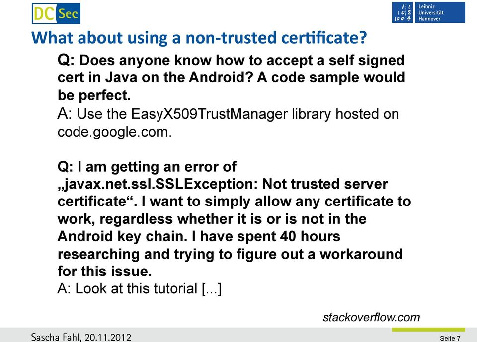 sslexception: Not trusted server certificate.