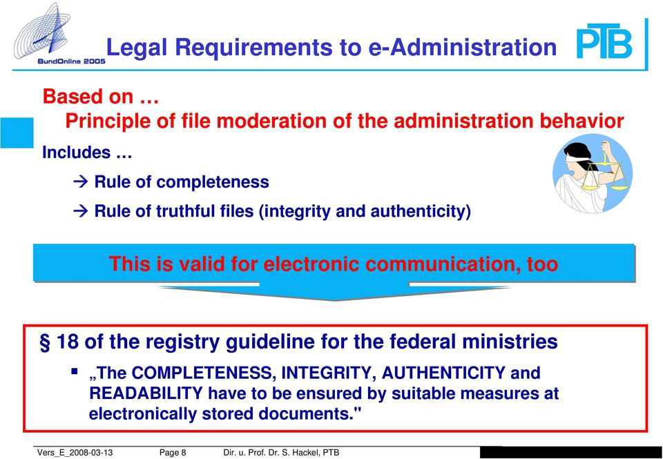 valid for electronic communication, too 18 of the registry guideline for the federal ministries The COMPLETENESS,