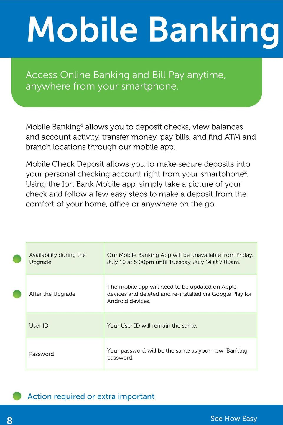 Mobile Check Deposit allows you to make secure deposits into your personal checking account right from your smartphone 2.