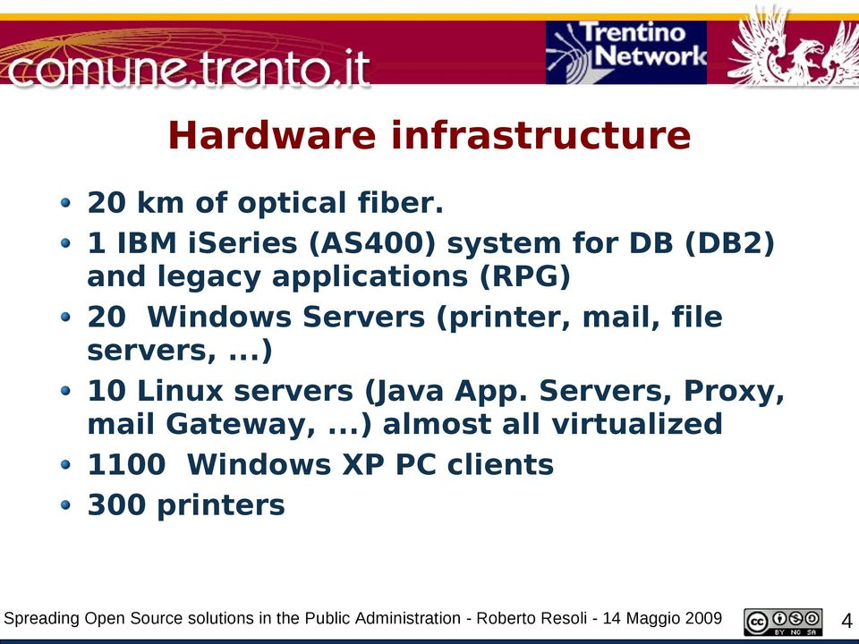 (printer, mail, file servers,...) 10 Linux servers (Java App. Servers, Proxy, mail Gateway,.