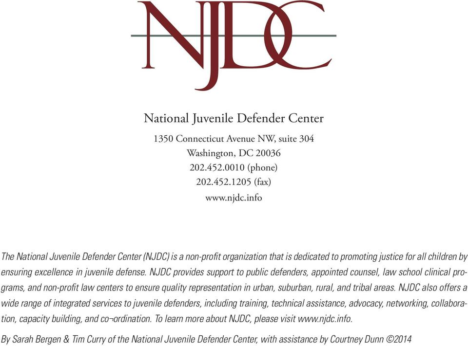 NJDC provides support to public defenders, appointed counsel, law school clinical programs, and non-profit law centers to ensure quality representation in urban, suburban, rural, and tribal areas.