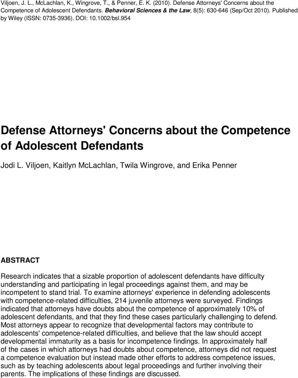 954 Defense Attorneys' Concerns about the Competence of Adolescent Defendants Jodi L.