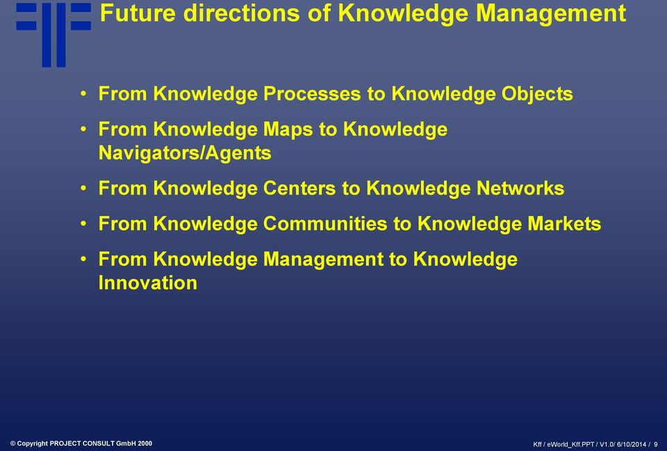 Networks From Knowledge Communities to Knowledge Markets From Knowledge Management to