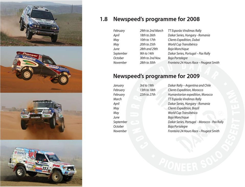 Hours Race Peugeot Smith Newspeed s programme for 2009 January February February March April May May June September October November 3rd to 19th 13th to 18th 22th to 27th Dakar Rally Argentina and