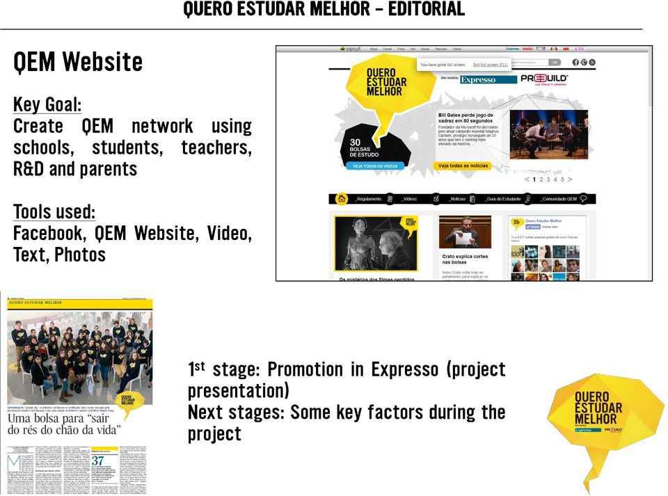 QEM Website, Video, Text, Photos Paper 1 st stage: Promotion in Expresso